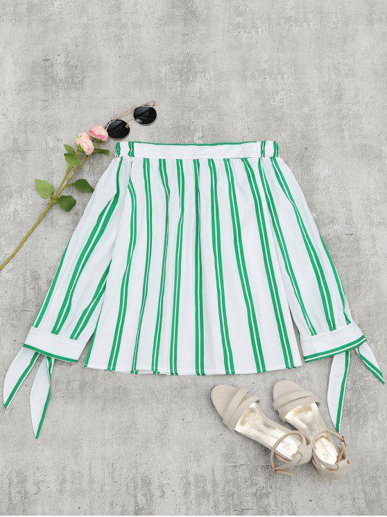 women Off The Shoulder Self Tie Striped Blouse - STRIPE XL
