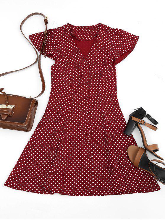 hot Button Up Polka Dot Mini Dress - WINE RED L