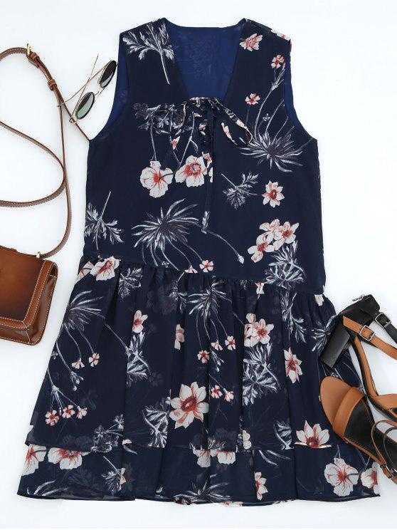 Floral Layered Lace Up Mini Dress - Azul Arroxeado S