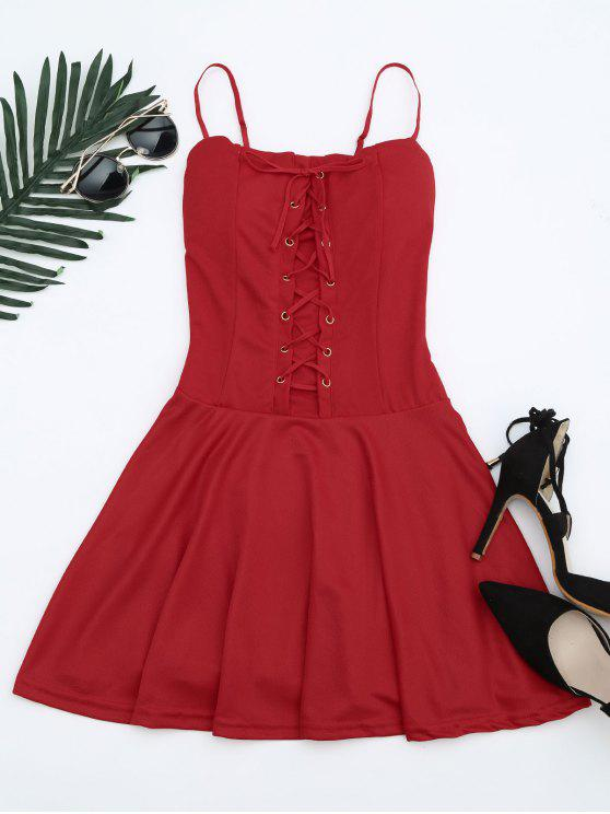 shops Lace Up Cami Flare Dress - RED ONE SIZE