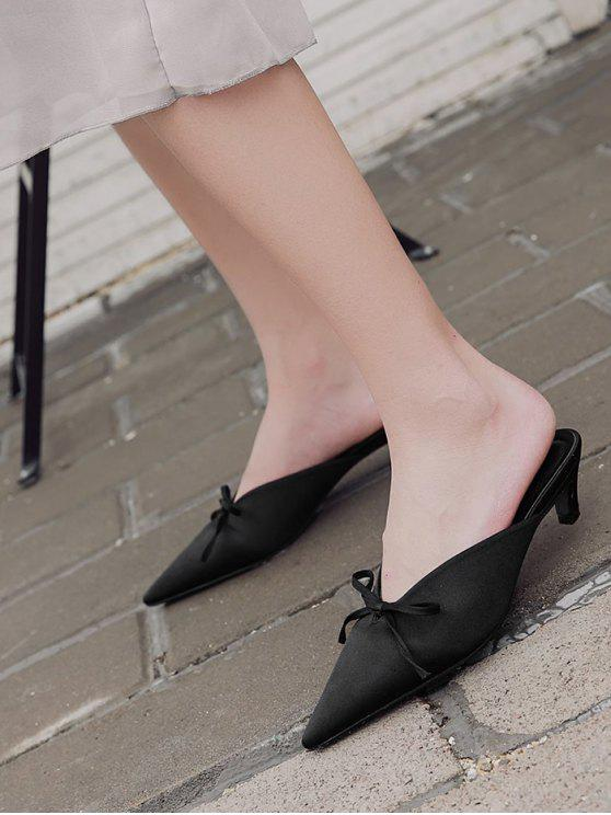 Pointed Toe Bow Satin Slippers - Black 37