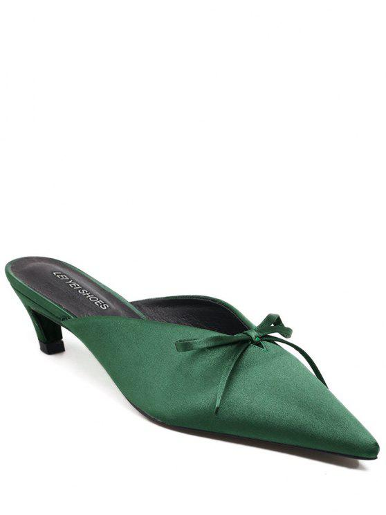 unique Pointed Toe Bow Satin Slippers - GREEN 38