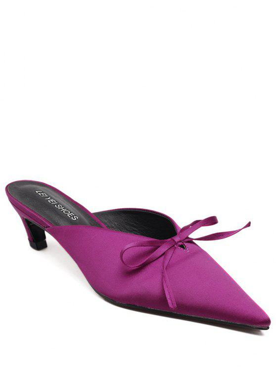 buy Pointed Toe Bow Satin Slippers - ROSE RED 38