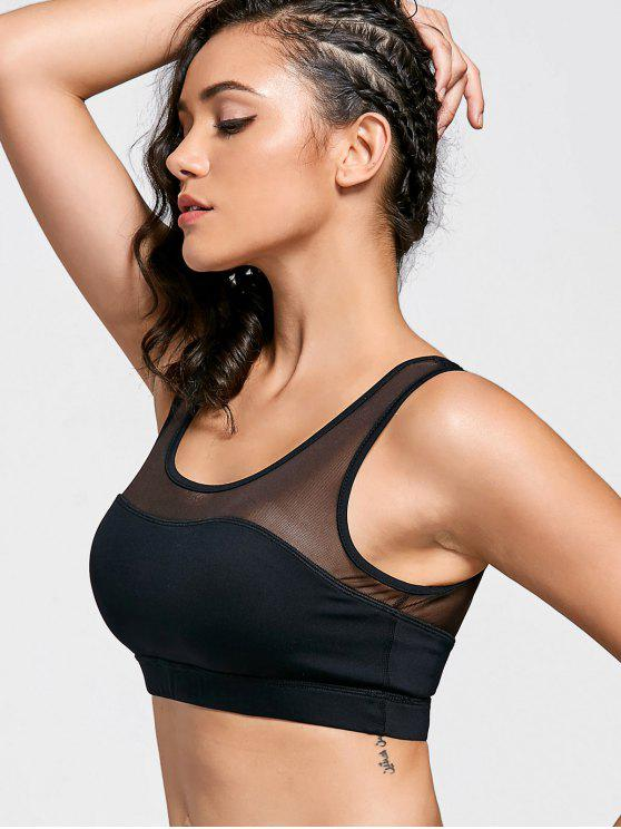 outfits Mesh Panel Color Block Sports Bra - BLACK S