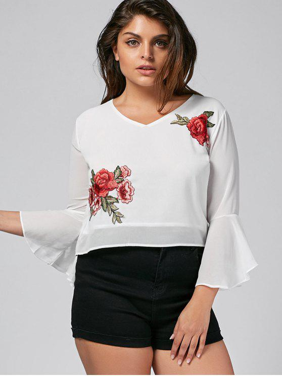 chic Floral Embroidered Plus Size Cut Out Top - WHITE 4XL