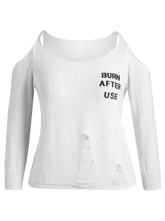 buy Plus Size Cold Shoulder Letter Ripped Knitwear - WHITE 3XL