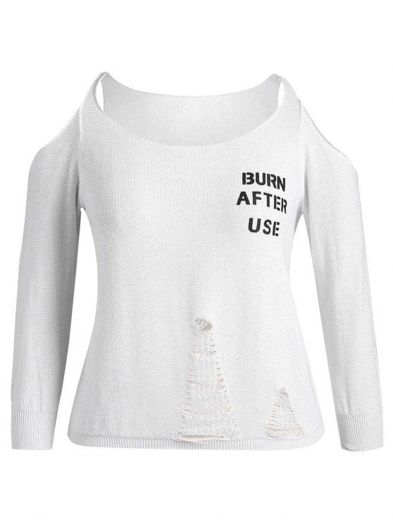 Más tamaño de fría carta de hombro Ripped Knitwear - Blanco 4XL