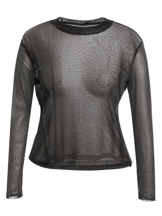 online Long Sleeve Plus Size Gilding T-shirt - BLACK 2XL