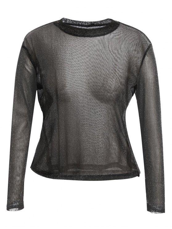 hot Long Sleeve Plus Size Gilding T-shirt - BLACK 4XL
