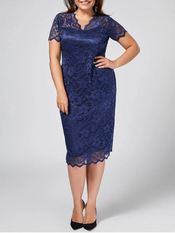 21% OFF] 2019 Plus Size Scalloped Sheer Lace Dress In PURPLISH BLUE ...