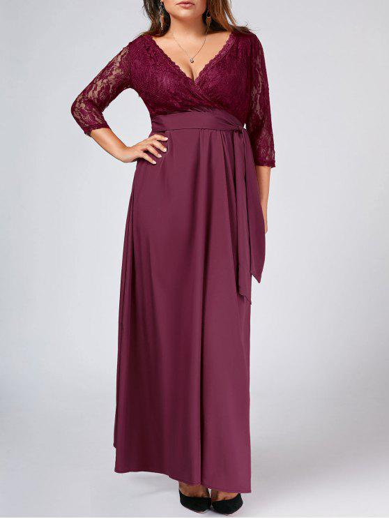 affordable Lace Panel Belted Plus Size Prom Dress - PURPLISH RED XL