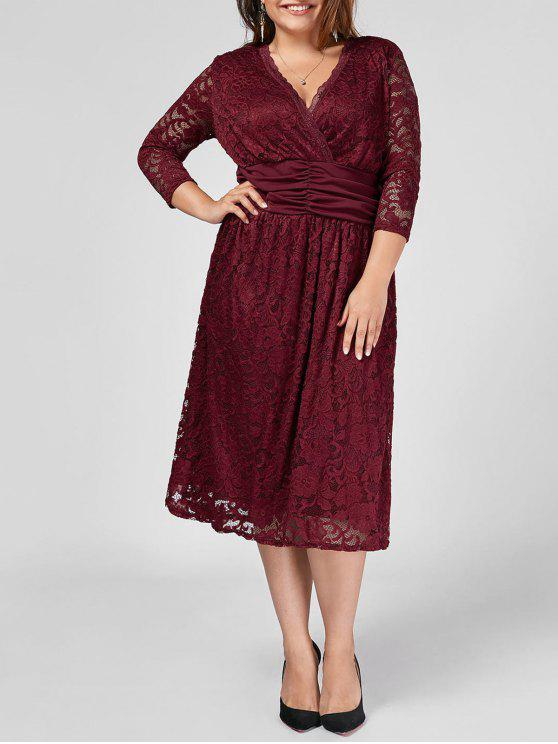 Plus Size Empire Waist Sheer Lace Dress WINE RED