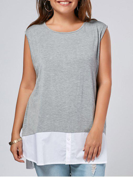 Side Slit Plus Tono Dos Tonos Top - Gris XL