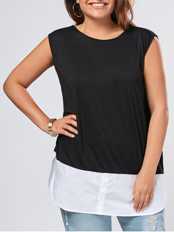shop Plus Size Sleeveless Two Tone Slit Top - BLACK 3XL