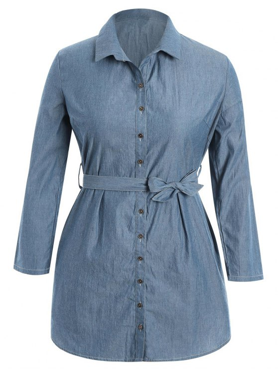 ladies Belted Plus Size Denim Shirt Dress - DENIM BLUE 2XL