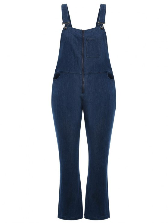 hot Plus Size Front Zipper Denim Overalls - DENIM BLUE 3XL