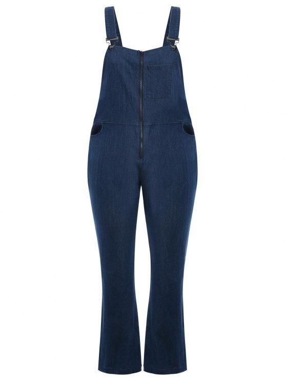 outfit Plus Size Front Zipper Denim Overalls - DENIM BLUE 4XL
