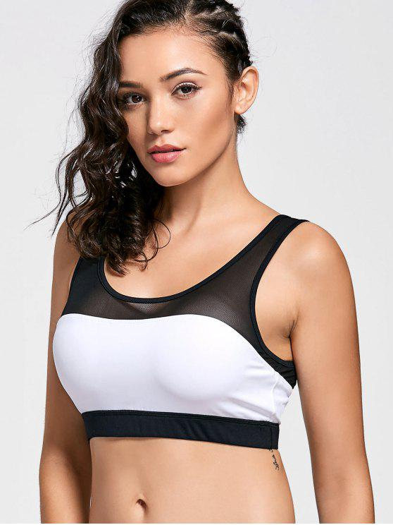 lady Color Block Mesh Panel Sports Bra - WHITE AND BLACK S
