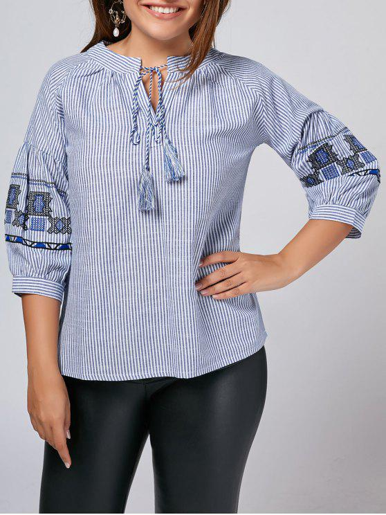 hot Plus Size Embroidered Striped Blouse - STRIPE XL