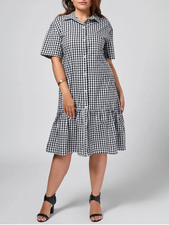 fashion Plus Size Checked Ruffles Shirt Dress - CHECKED 3XL