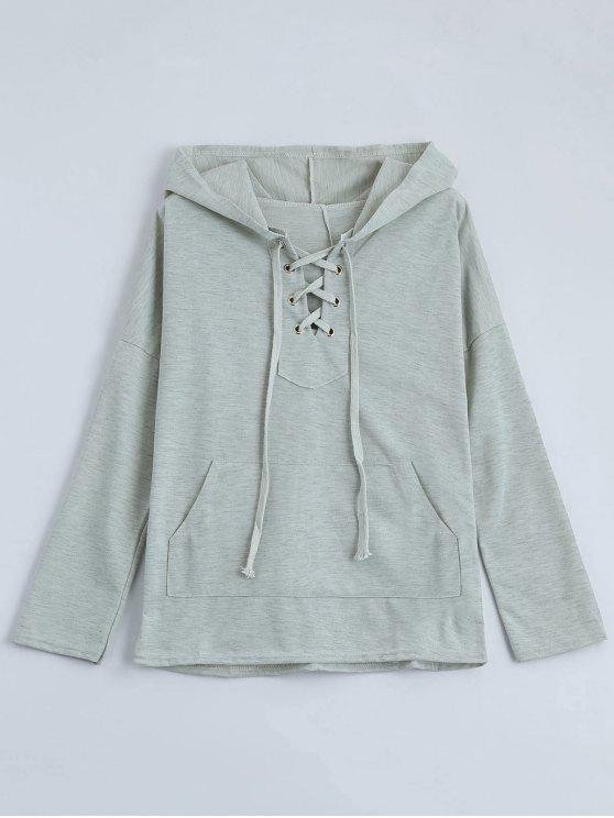 fancy Drop Shoulder Lace Up Hoodie - LIGHT GRAY L