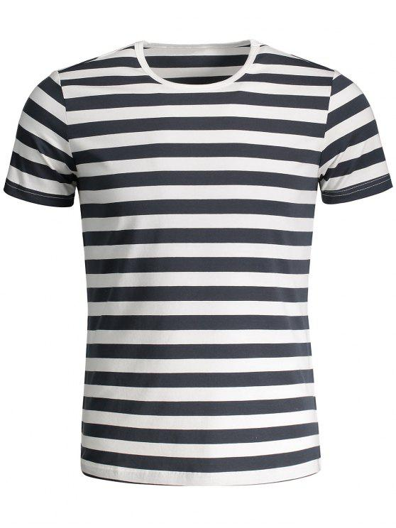 T-shirt Jersey à Rayures Col Rond - Gris et Blanc XL