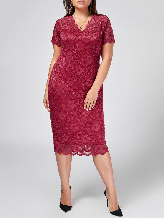 unique Plus Size Scalloped Lace Bodycon Dress - ROSE RED 2XL