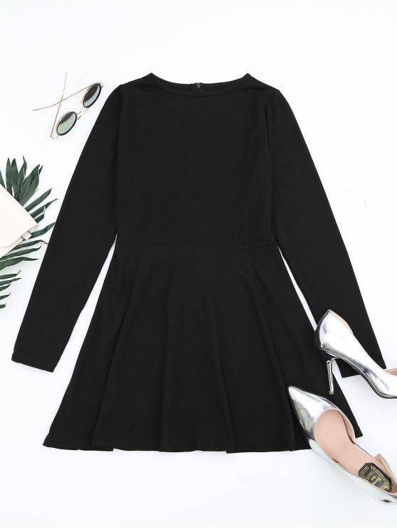 ladies Round Collar Long Sleeve Mini Dress - BLACK XL