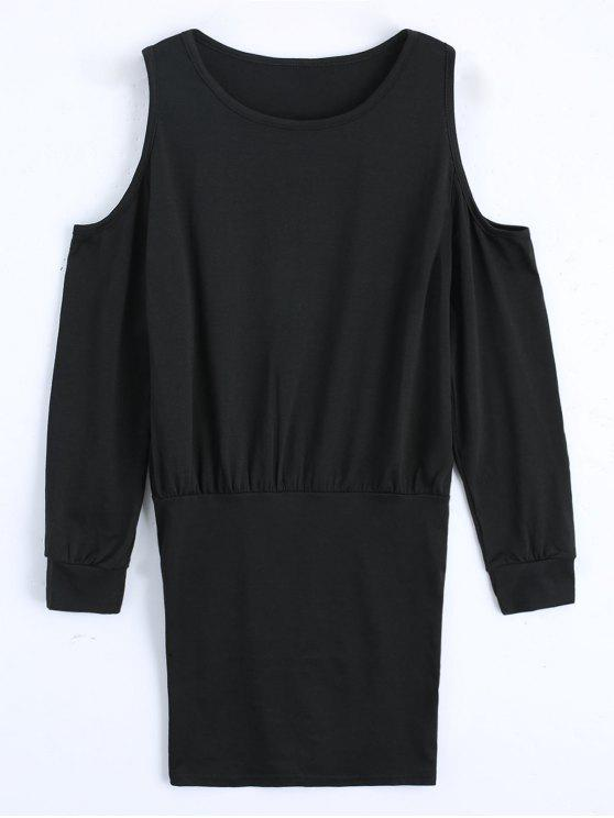 hot Cold Shoulder Long Sleeve Mini Dress - BLACK M