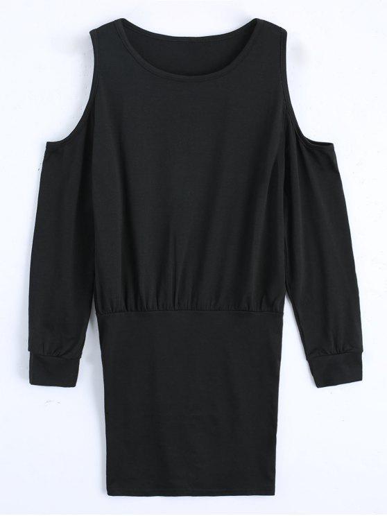 hot Cold Shoulder Long Sleeve Mini Dress - BLACK M