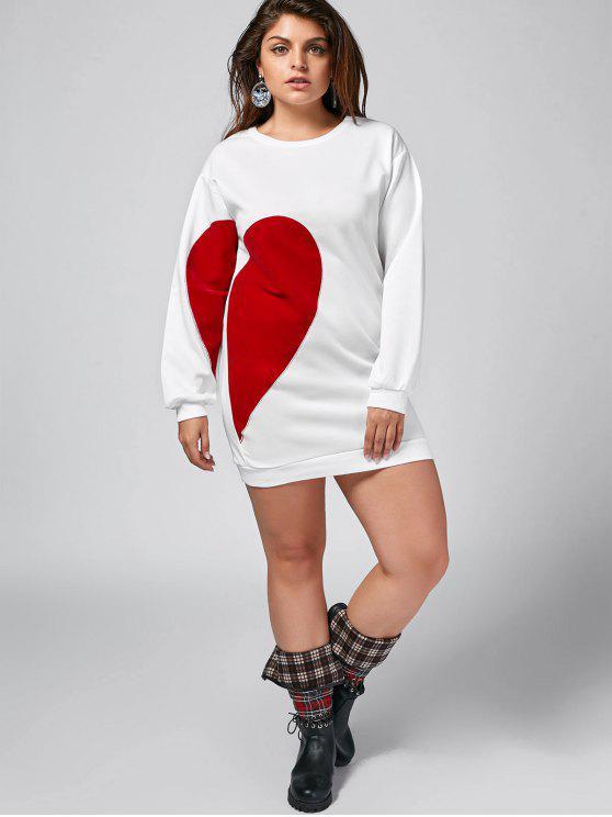 Heart Plus Size Patch Desigh Mini-robe - Blanc 2XL