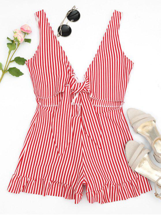 Bowknot Stripes Cut Out Romper - Rayure S