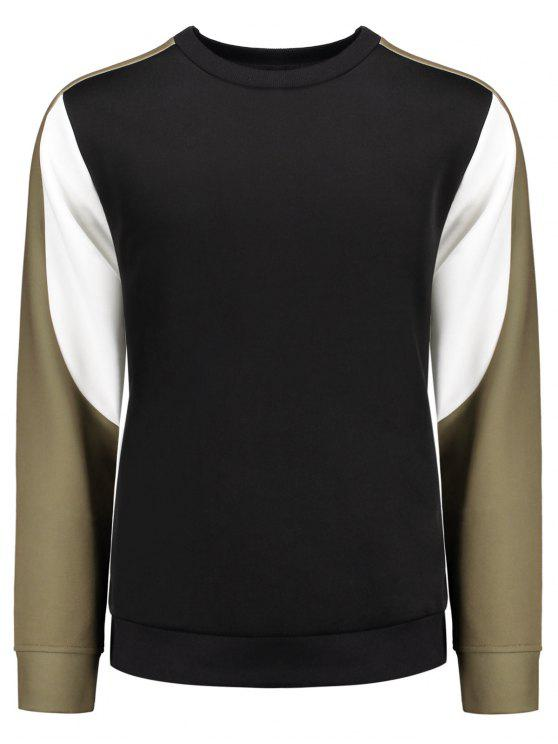 women Crew Neck Color Block Panel Sweatshirt - BLACK L