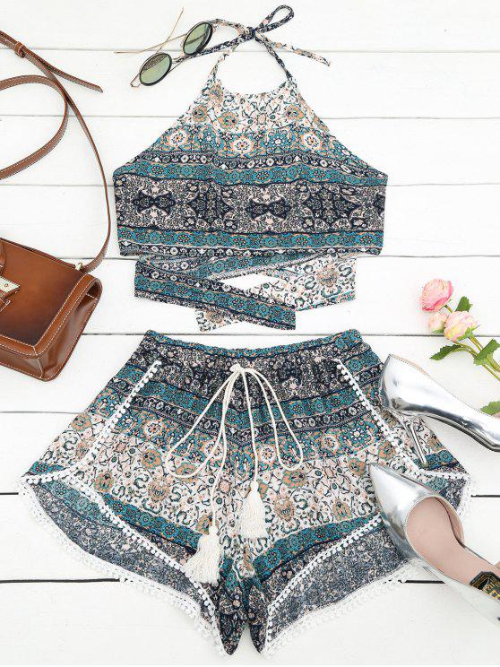 women's Tribal Print Halter Top and Shorts Set - MULTI L