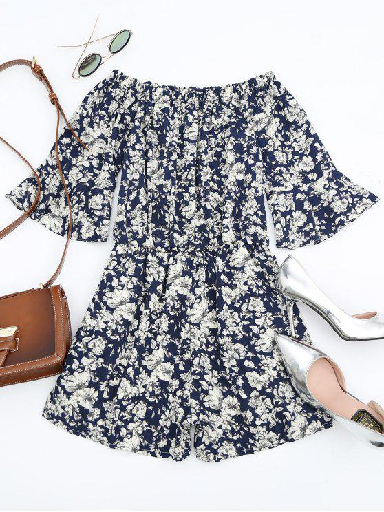 latest Floral Print Flare Sleeve Romper - FLORAL XL