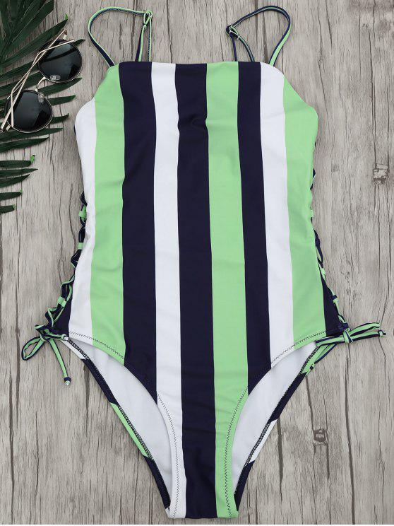 online Stripe Lace-Up Backless Swimsuit - STRIPE M