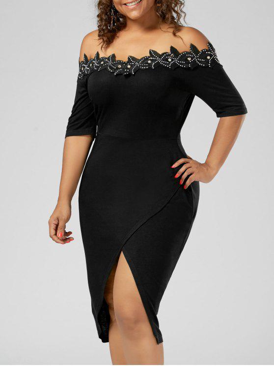 فستان الحجم الكبير أبليك تريم رصاص - أسود 3XL