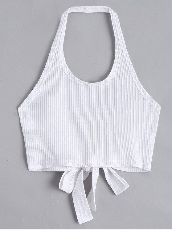 fancy Halter Criss Cross Ribbed Crop Top - WHITE S