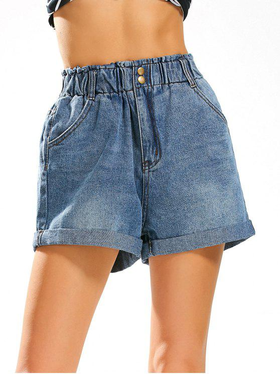 Pantaloncini Jean di stile del ragazzo con vita alta elastica - Blu Denim XL