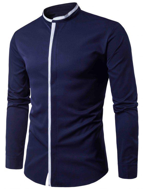 الوقوف طوق اللون كتلة لوحة الغلاف بلاكيت قميص - الأرجواني الأزرق M