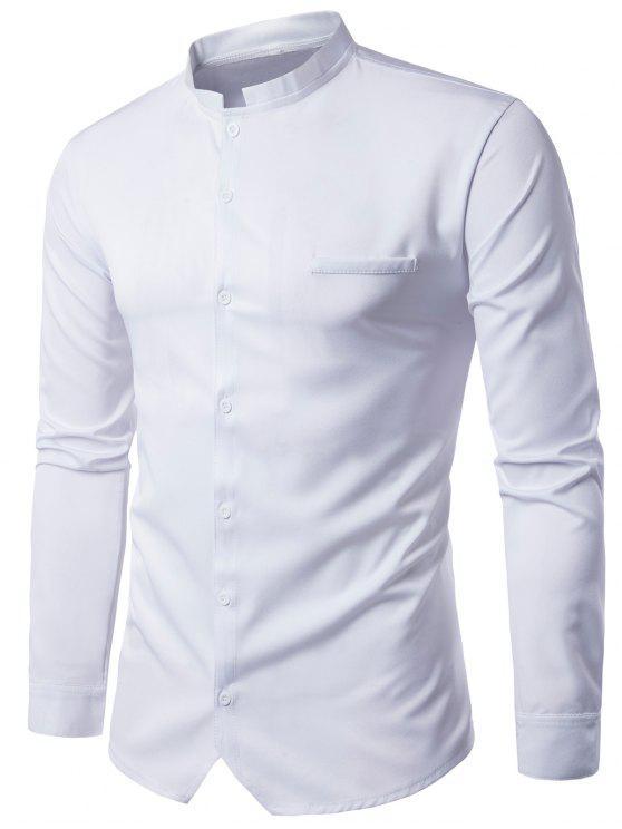الوقوف طوق متفوقا قميص طويل الأكمام - أبيض M