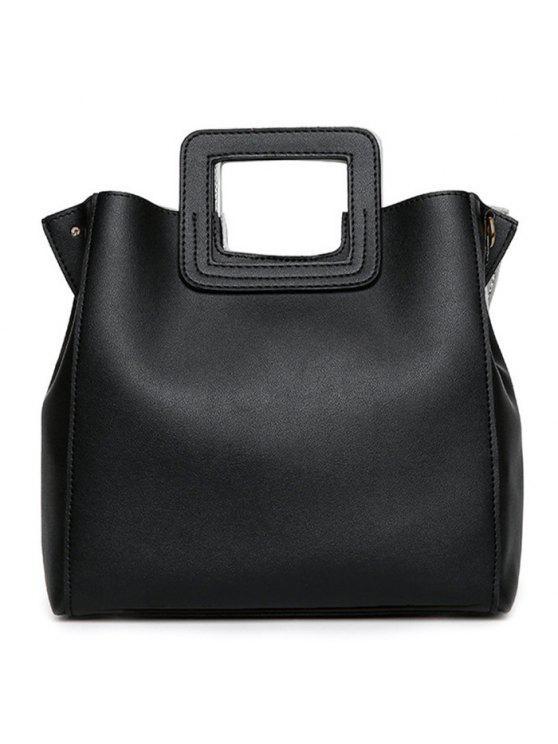 فو الجلود مربع التعامل مع حقيبة حمل - أسود