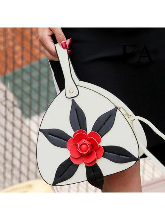 حقيبة اليد طباعة الأزهار بجلد اصطناعي - أبيض