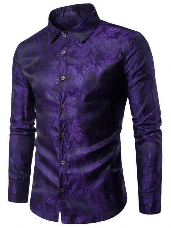 fashion Turndown Collar Paisley Vintage Shirt - PURPLE M