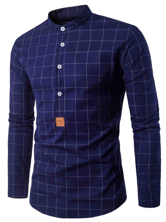 قميص نصف أزرار بو الجلود زين فحص - الأرجواني الأزرق 2XL