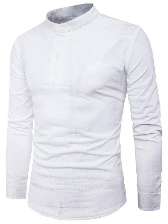 قميص الوقوف طوق نصف أزرار التمساح بو الجلود - أبيض 2XL