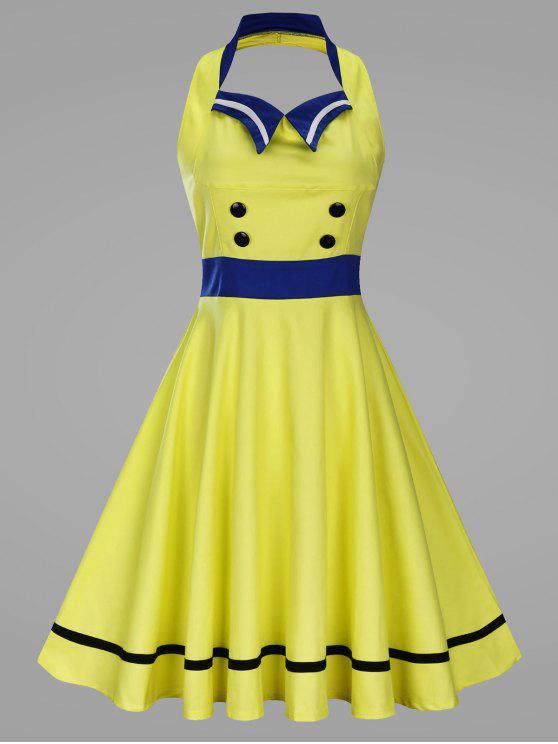 8eb3f95c6112 unique Plus Size Flat Collar Panel Halter Vintage Swing Dress – YELLOW 4XL