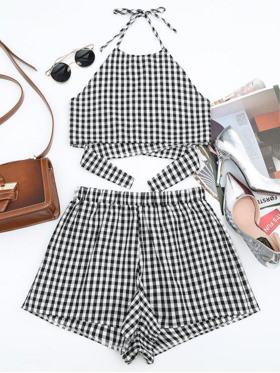 affordable Halter Checked Top and Shorts Set - CHECKED L