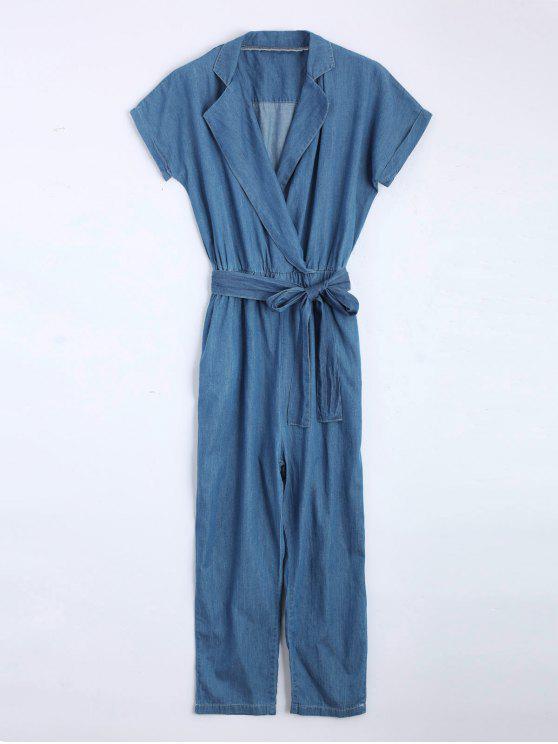 Jerseys de mezclilla recta con cinturón - Denim Blue M