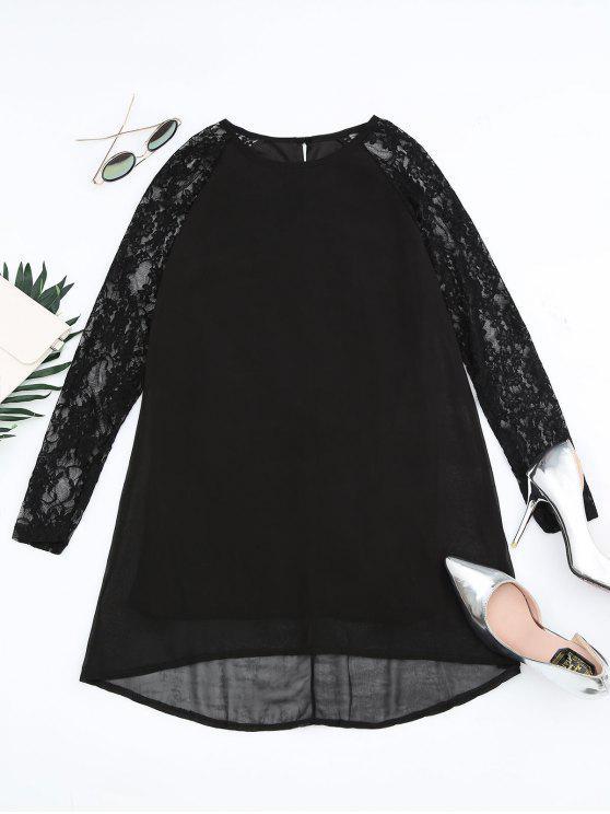 فستان مستقيم دانتيل - أسود S